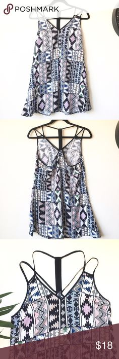 """Tribal print tank dress Very lightweight dress/ long top  perfect for summer thin straps and racerback style .perfect condition. Bust:18"""" Length :30""""( all measurements are approx) please feel free to ask me any questions! en creme Dresses Mini"""