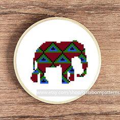 Elephant  PDF counted cross stitch pattern  by galabornpatterns, $4.20