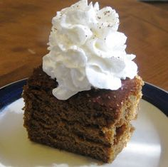 I love gingerbread, but this one is the best.spicy, bold and moist. But I use dried ginger. Featured on Diners, Drive-ins and Dives. Yummy Eats, Yummy Food, Tasty, Dove Recipes, Just Desserts, Dessert Recipes, Gingerbread Cake, Gingerbread Recipes, Brownie Cake