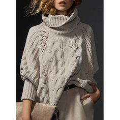 Simple Style Solid Color Turtleneck Knitted Pullover Sweater For Women