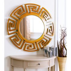 Abbyson Living Monticello Brown Round Wood Wall Mirror