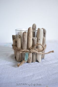 Upcycle standard glass votive candle holders with driftwood pieces. A really…