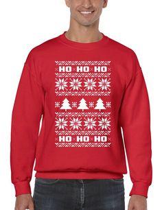 HO HO HO Men's Crewneck Sweatshirt Ugly Christmas Sweater