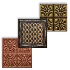 Faux ceilings tiles in copper, antique gold and antique brass.