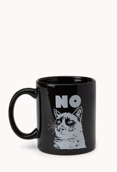 Neeeeed thisssss. Grumpy Cat Coffee Mug | FOREVER21 No such thing as too much coffee #Meow #Graphic #ForeverHoliday #WishPinWin