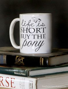 A milk chocolate pony filled with peanut butter that arrives in buy the pony coffee mug the painting pony for the equestrian horse lover negle Image collections