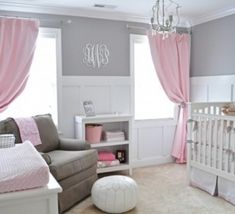 Crisp white with gray and pink. I would like this room too! Soft colors for that little one.