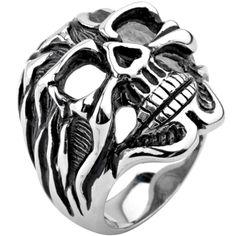 Inox Jewelry Men's 316L Stainless Steel Skull Face Biker Ring $24.00