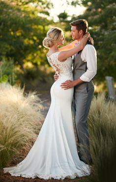 Style D2238 Essense Of Australia Lace Back Wedding Dress With High Neckline