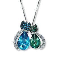 9543ed265 Clearance! Sterling Silver Topaz Cat Necklace - Kay Jewelers ...