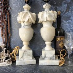 Alabaster Lamps / Hand Carved Italian / Pair / Cottage