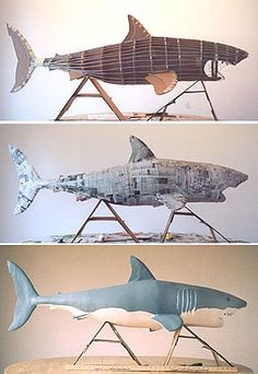Cardboard Shark! Cardboard Sculpture, Paper Mache Sculpture, Cardboard Crafts, Cardboard Paper, Paper Mache Projects, Paper Mache Crafts, Diy Paper, Paper Art, Origami
