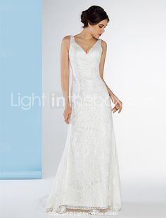 Lanting Bride® Trumpet / Mermaid Wedding Dress Sweep / Brush Train V-neck Lace with Lace 2016 - $129.99
