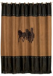 Embroidered Three Horses Shower Curtain