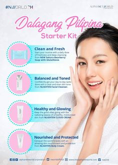 Here's to all the beautiful ladies out there! Keep reaching your dreams with compassionate heart, and this amazing dalagang Pilipina starter kit! Nlighten Products, Korean Products, Beauty Soap, Even Skin Tone, Best Anti Aging, Facial Care, Skin So Soft, Facial Cleanser, Acne Treatment