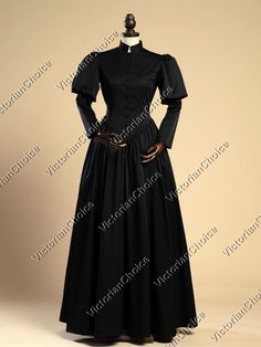 Black Gothic Victorian Steampunk Penny Dreadful Gown Dress Theater Clothing 006 #VictorianChoice #Dress