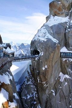 Aigulle du Midi Bridge, Mont Blanc massif, French Alps, France - you must first take a cable car 2,800 metres vertical first to reach the summit
