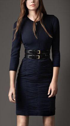 Burberry Blue Silk Ruche Panel Dress