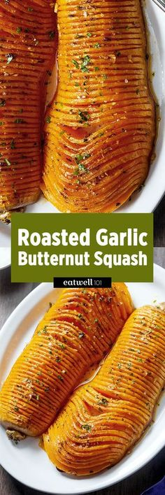 Roasted Garlic Butternut Squash — Impress your guests with this striking side dish for Thanksgiving! : Roasted Garlic Butternut Squash — Impress your guests with this striking side dish for Thanksgiving! Side Dish Recipes, Vegetable Recipes, Vegetarian Recipes, Cooking Recipes, Healthy Recipes, Budget Cooking, Lunch Recipes, Vegetarian Grilling, Healthy Grilling