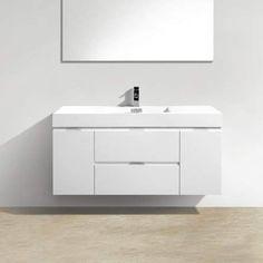 "Tenafly 48\"" Single Wall Mount Modern Bathroom Vanity Set #Wall#mount#Mounting"
