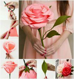bonita rosa grande de papel
