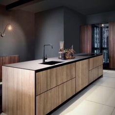 Warm wood effect, black edged doors in handleless style Credenza, Buffet, Kitchen Ideas, Warm, Doors, Traditional, Cabinet, Storage, Modern