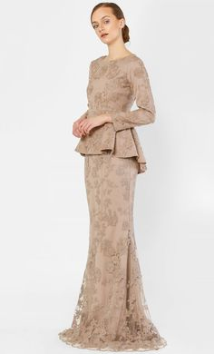 The Peplum Kurung with Full Dahlia Lace in Sand wedding dream Hijab Dress Party, Hijab Wedding Dresses, Bridal Dresses, Bridesmaid Dresses, Baju Kurung Lace, Kurung Peplum, Hijab Stile, Dress Brokat, Batik Fashion