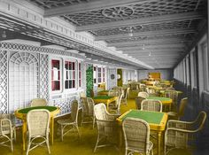 Titanic Class Café Parisien (colorized by Brian R. Coule, Rms Titanic, Outdoor Furniture Sets, Outdoor Decor, Parisian, Old School, Ocean, Rooms, History