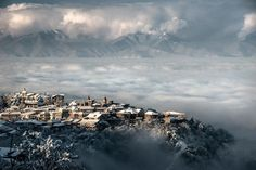 Sighnaghi enveloped by the winter Sighnaghi Kakheti Georgia Magdalena Konik Creative Landscape, Landscape Photos, Georgia Country, National Geographic Photos, Armenia, Places To Go, Beautiful Places, Beautiful Sky, Scenery