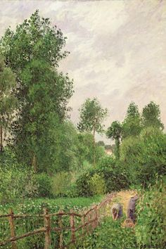 Paysage, Temps Gris a Eragny, 1899 Canvas A. Famous Impressionist Paintings, Famous Art Paintings, Impressionist Art, Landscape Paintings, Landscapes, Pissaro Paintings, Camille Pissarro Paintings, Post Impressionism, African American Art
