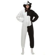28352615ae Black White Bear Kigurumi Costume Unisex Fleece Pajamas Onesie Adult Pajamas