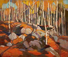 """Thomas John """"Tom"""" Thomson was an influential Canadian artist of the early century. He directly influenced a group of Canadian painters that would come to be known as the Group of Seven. (Wikipedia) (""""The Birch Grove"""" by Tom Thompson) Emily Carr, Canada Landscape, Landscape Art, Landscape Paintings, Scenery Paintings, Group Of Seven Art, Group Of Seven Paintings, Canadian Painters, Canadian Artists"""