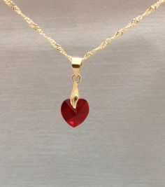 Swarovski  Heart Pendant in 14k gold filled Necklace