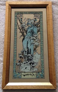 VINTAGE 70s MUCHA WINTER PICTURE MIRROR EDWARDIAN ART NOUVEAU BELLE EPOQUE 1900 | eBay