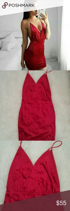 New* Sexy Red Velvet Dress Brand new, no tags. Velvet is very soft and the dress does stretch. True to a size.  Offers welcome! Dresses Mini
