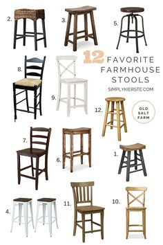 Twelve Favorite Farmhouse Stools, most of them under $100! Whether you love an industrial vibe, all wood, or some texture, these are fabulous finds!