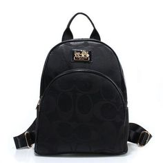 Discount Coach Logo Monogram Small Black Backpacks FCI Clearance