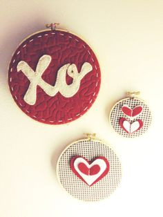 Valentine's Day Embroidery Hoop Art HandStitched XO by eschreur on Etsy, $12.00