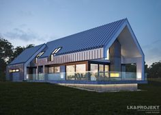 Traditional home by Architecture firm: LK & Projekt Modern Family House, Modern Barn House, Barn House Plans, New House Plans, Modern House Plans, Modern House Design, Bungalow Exterior, Modern Farmhouse Exterior, Gable House