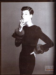VOGUE ITALIA ALTA MODA SEPTEMBER 1992  Divina (8 pages)  Photographer: Steven Meisel  Fashion Editor: Nicoletta Santoro  Hair: Garren  Make Up: Denise Markey  Model: Linda Evangelista