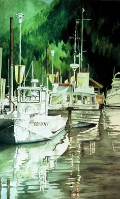 This image is all about reflection.  The light on the water, the light in the glass windows, and the light reflecting from the water onto the boats was fun to capture.    Horseshoe Bay.  Watercolour  Sold to Private Collection  Artist: Conny Jager