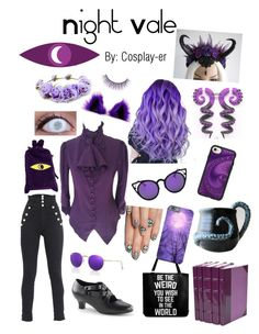 """""""Night Vale"""" by cosplay-er ❤ liked on Polyvore featuring alfa.K, eylure, Mew., Isabel Marant, Ray-Ban, Casetify and Forever 21"""