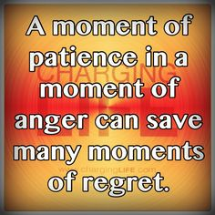 A moment of patience in a moment of anger can save many moments of regret.