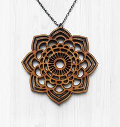 Mandala Statement Necklace - Wood Necklace, Laser Cut Jewelry, Statement…