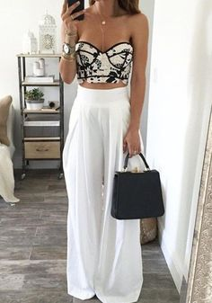 White Plain Pleated Elastic Waist High Waisted Wide Leg Loose-fitting Fashion Long Pants