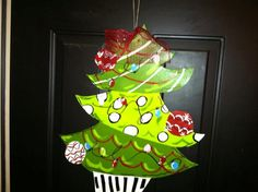 Whimsical Christmas Tree Hand Painted Wooden by TheButterbean1, $28.00