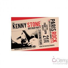 Rock Concert Ticket Photo Insert Themed Single Sided Personalised Birthday Invitations - From as little as per card - Including free envelopes and delivery on all orders! Rock Concert, Concert Tickets, Personalized Invitations, Envelopes, Birthday Invitations, Delivery, Party, Free, Parties
