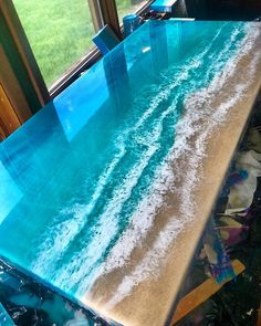 Ocean Epoxy Tisch - Best Wood Table Design - - pp Resin Furniture, Cool Furniture, Painted Furniture, Painted Wood, Wood Resin Table, Resin Table Top, Epoxy Resin Art, Epoxy Resin Countertop, Wood Countertops