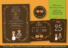 NEW: Whimsical Foxes and Cats Wedding Invitations