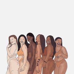 Illustration of some of our gorgeous models by ✨ Black Girl Art, Black Art, Positive Kunst, Body Positive Art, Art Afro, Art Africain, Feminist Art, Body Love, Body Image
